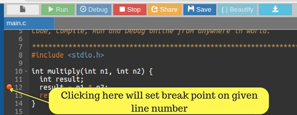 Clicking here will set breakpoint on given line number