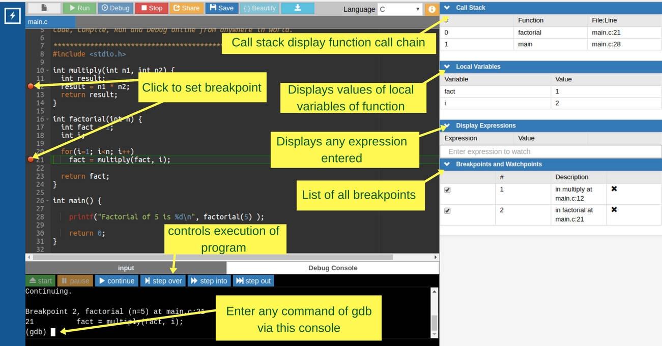 online gdb debugger usage